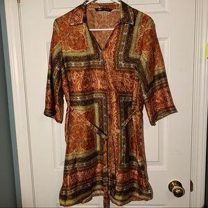 Zara paisley satin shirt dress (tunic length)